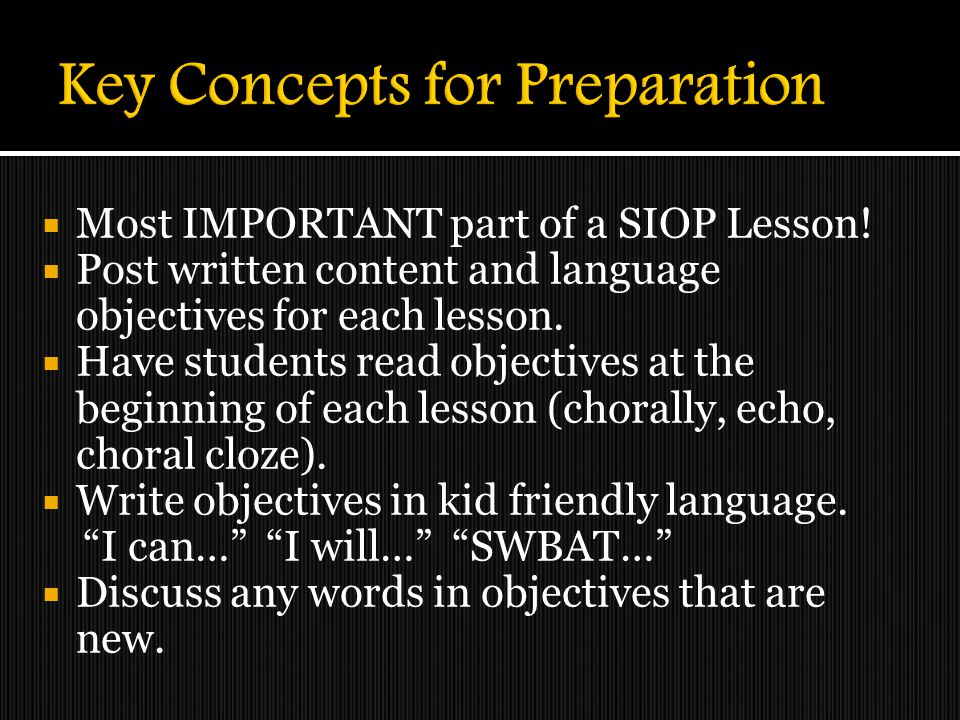 Key Concepts for Preparation