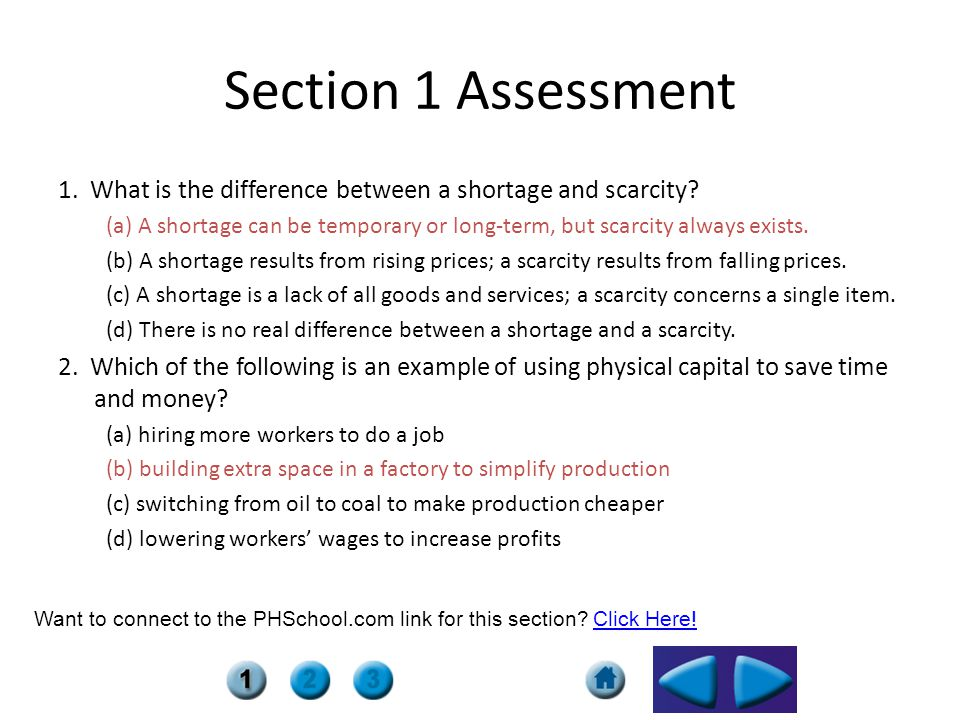 Section 1 Assessment 1. What is the difference between a shortage and scarcity