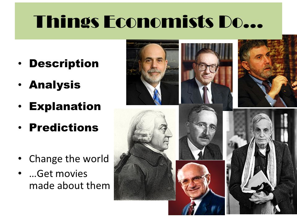 Things Economists Do… Description Analysis Explanation Predictions