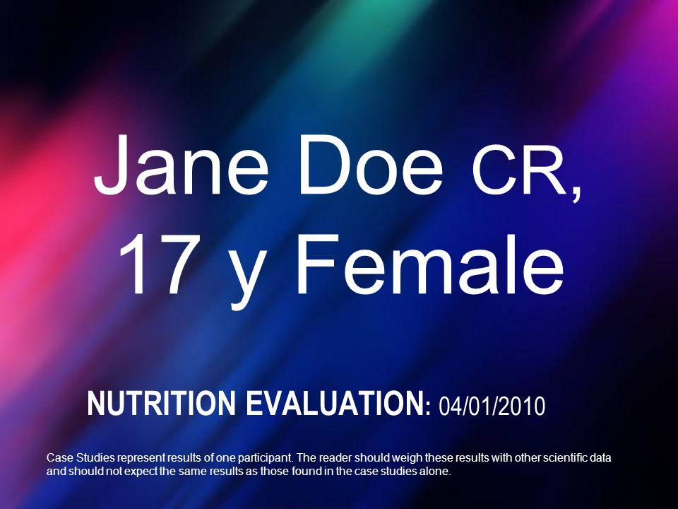 NUTRITION EVALUATION: 04/01/2010
