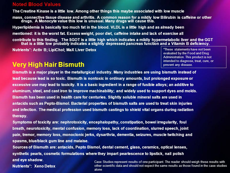 Very High Hair Bismuth Noted Blood Values