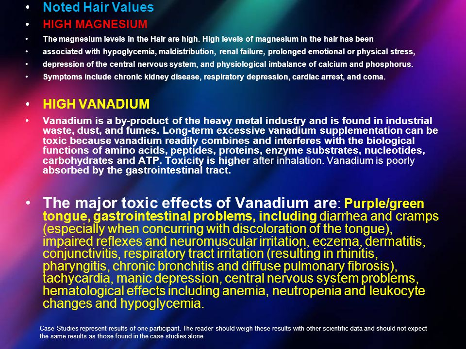Noted Hair Values HIGH MAGNESIUM. The magnesium levels in the Hair are high. High levels of magnesium in the hair has been.