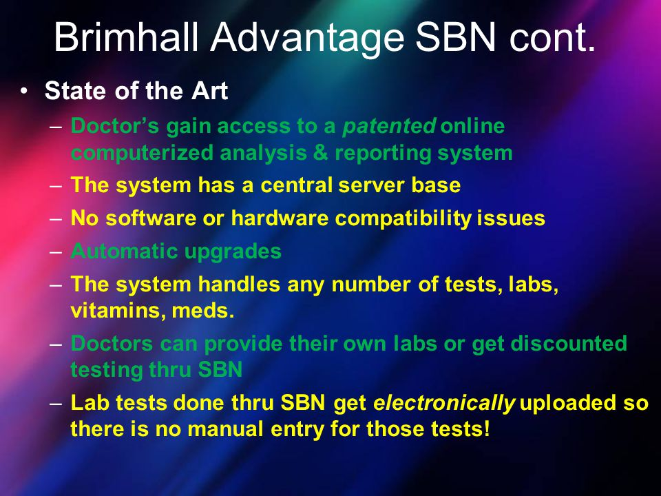 Brimhall Advantage SBN cont.