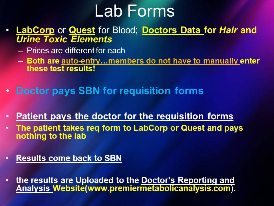 Lab Forms Doctor pays SBN for requisition forms
