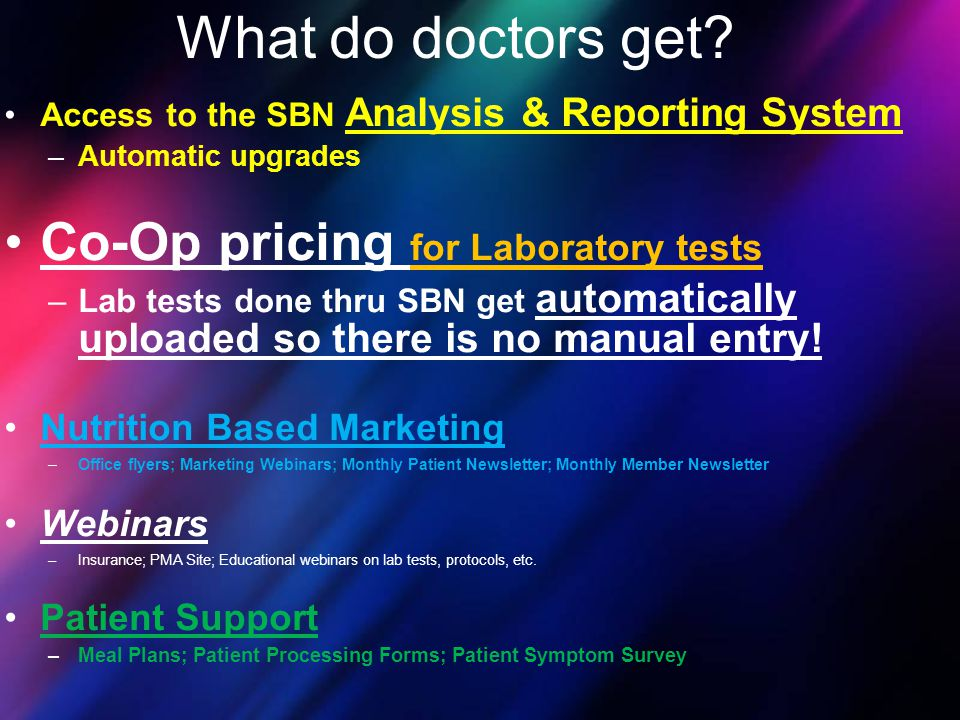 What do doctors get Co-Op pricing for Laboratory tests