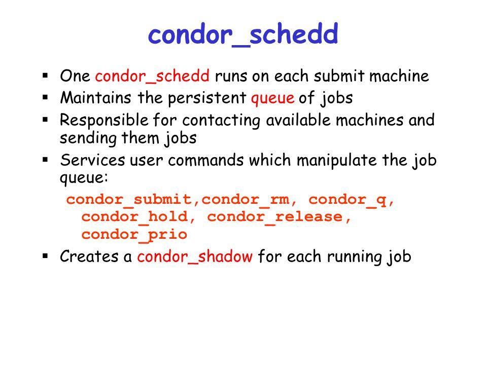 condor_schedd One condor_schedd runs on each submit machine