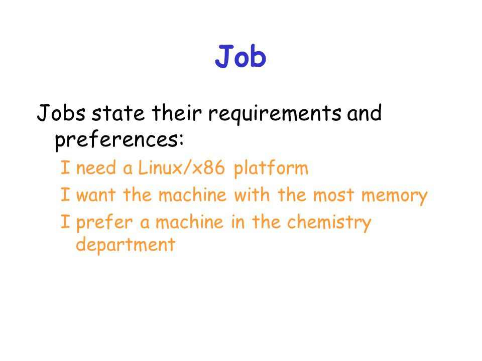 Job Jobs state their requirements and preferences: