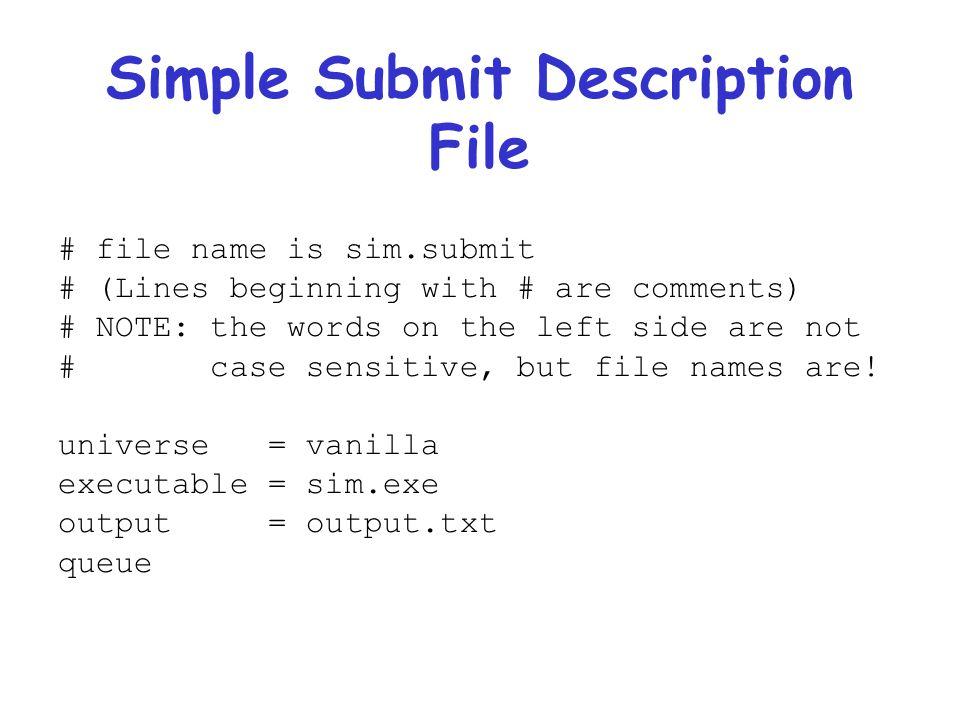Simple Submit Description File