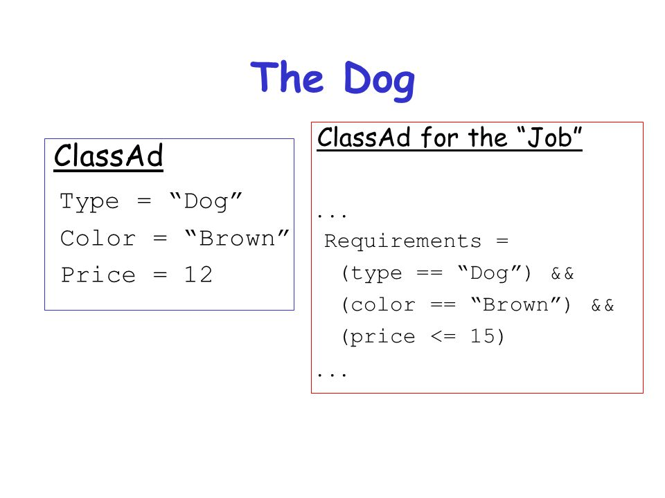 The Dog ClassAd Type = Dog Color = Brown Price = 12