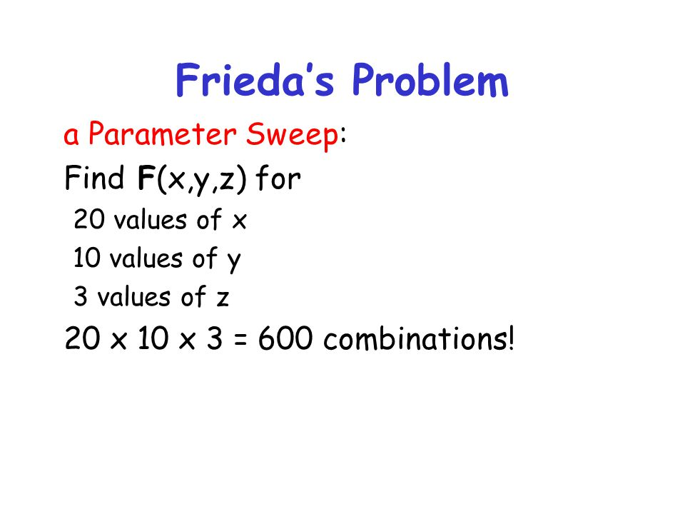 Frieda's Problem a Parameter Sweep: Find F(x,y,z) for