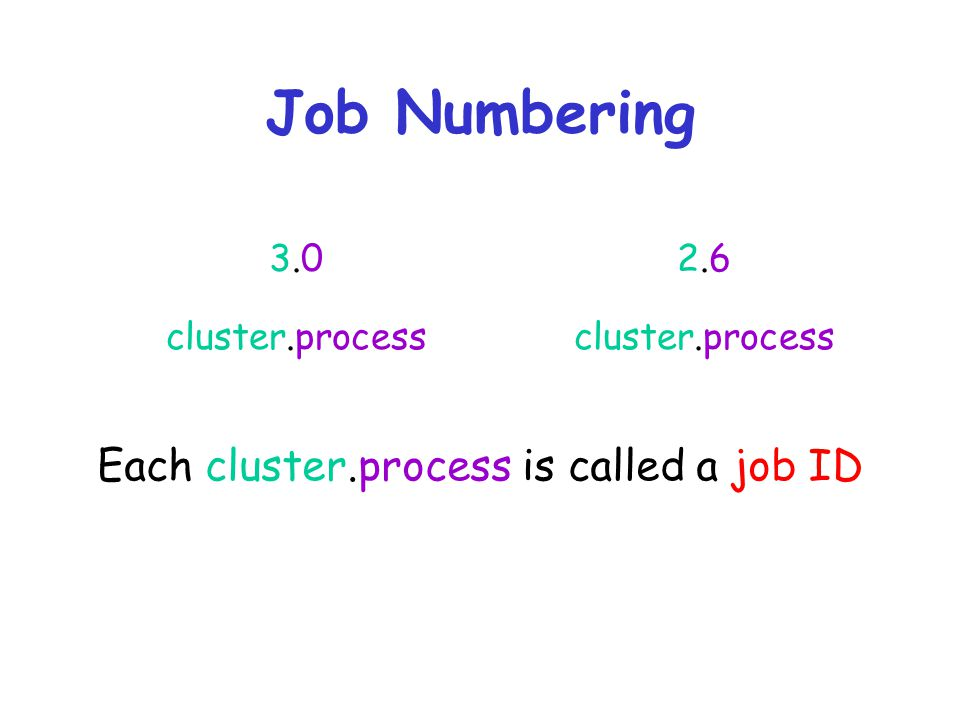 Each cluster.process is called a job ID