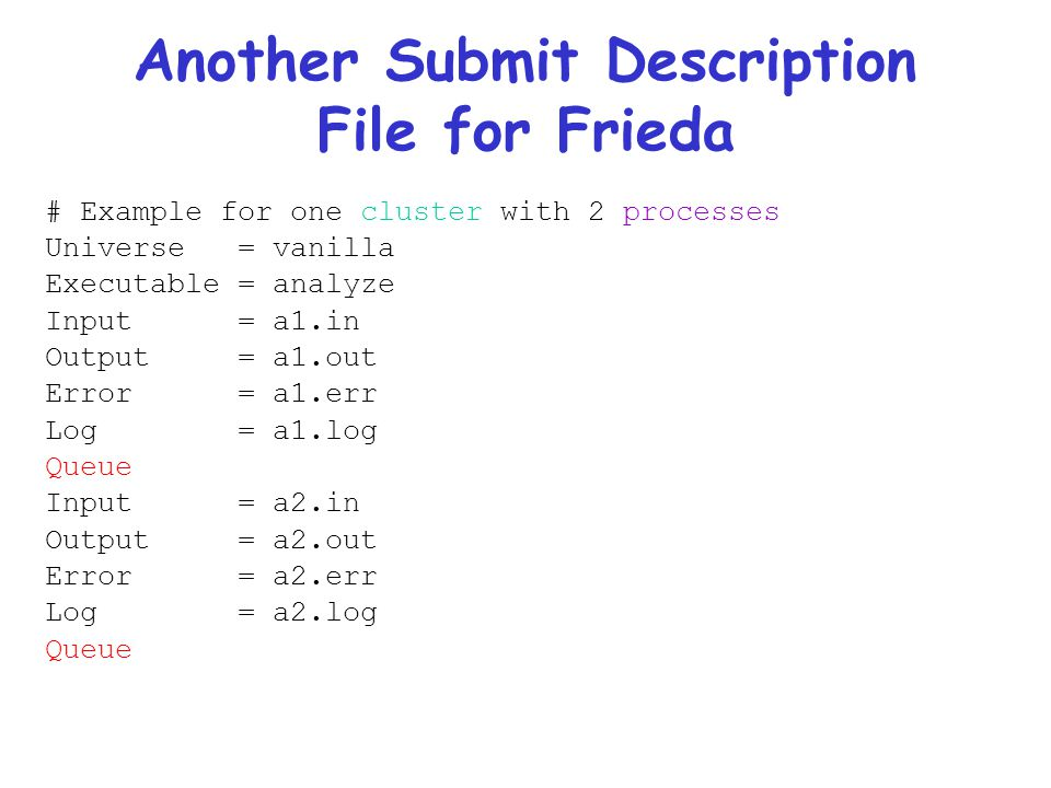 Another Submit Description File for Frieda