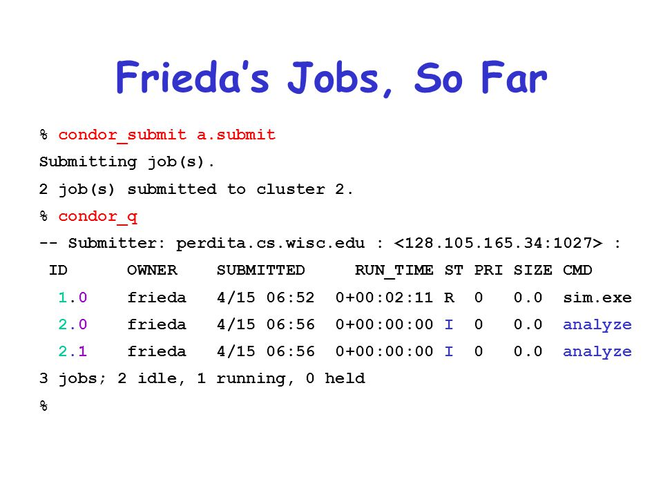Frieda's Jobs, So Far % condor_submit a.submit Submitting job(s).