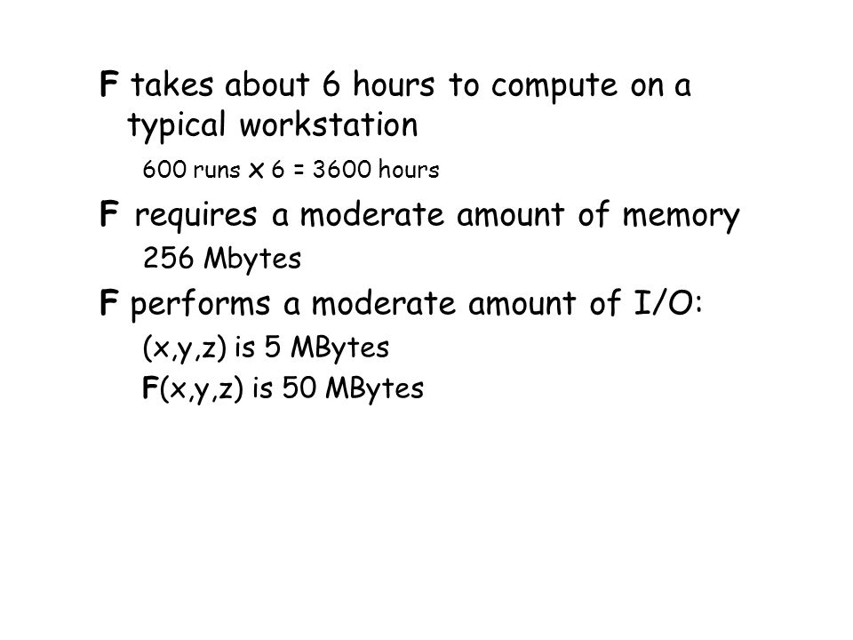 F takes about 6 hours to compute on a typical workstation