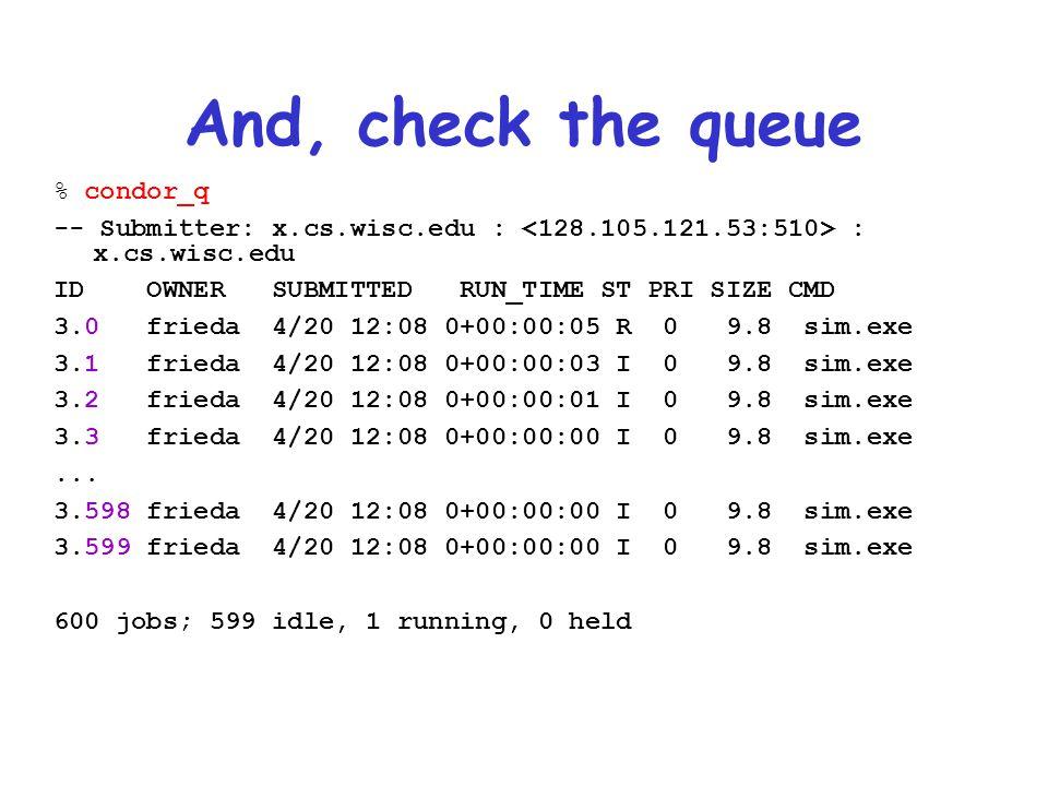 And, check the queue % condor_q