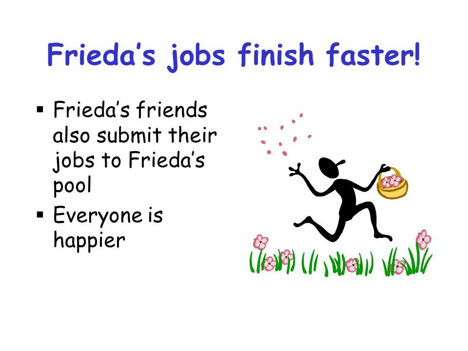 Frieda's jobs finish faster!