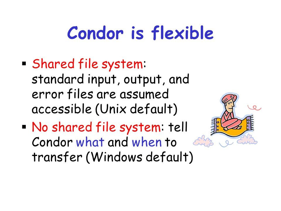 Condor is flexible Shared file system: standard input, output, and error files are assumed accessible (Unix default)