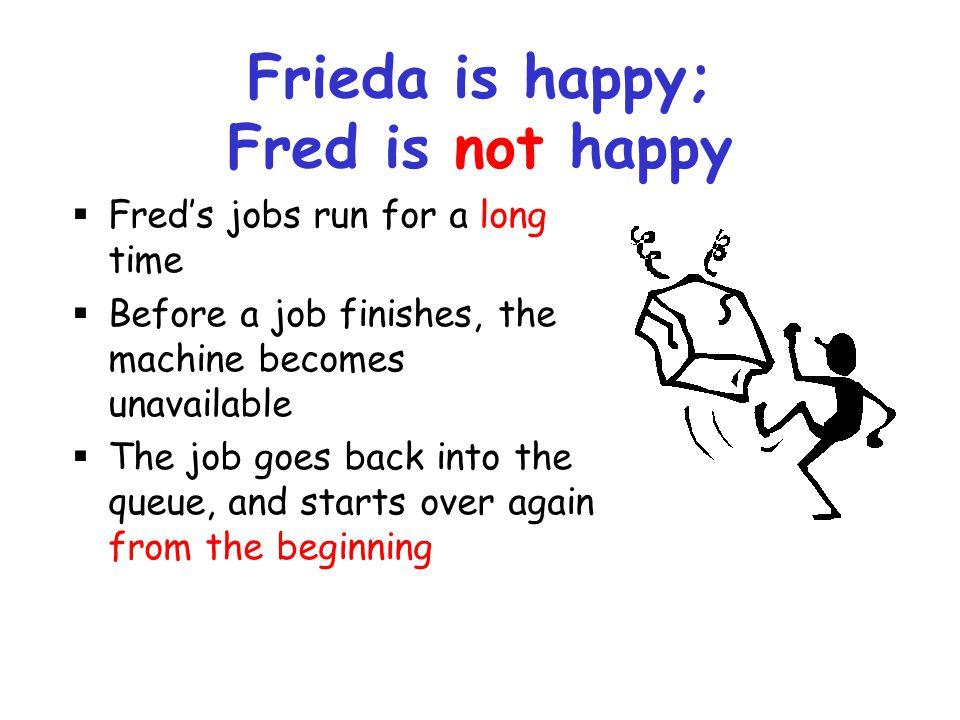 Frieda is happy; Fred is not happy
