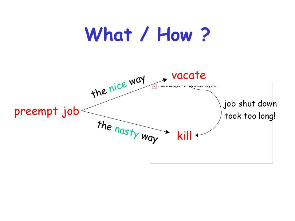 What / How vacate preempt job kill the nice way the nasty way