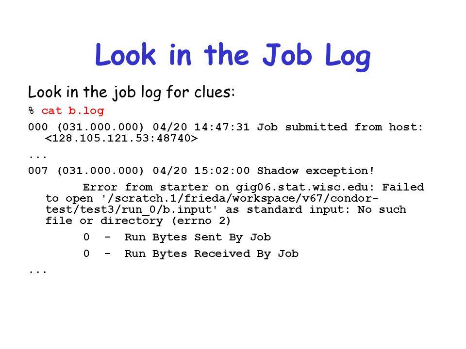 Look in the Job Log Look in the job log for clues: % cat b.log