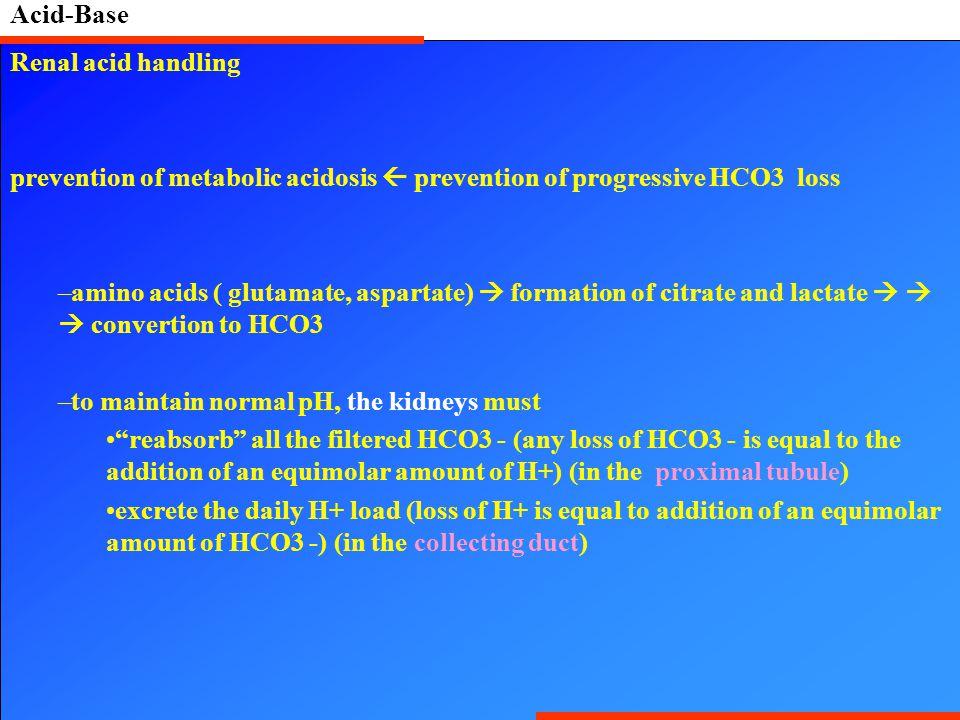 Acid-Base Renal acid handling. prevention of metabolic acidosis  prevention of progressive HCO3 loss.