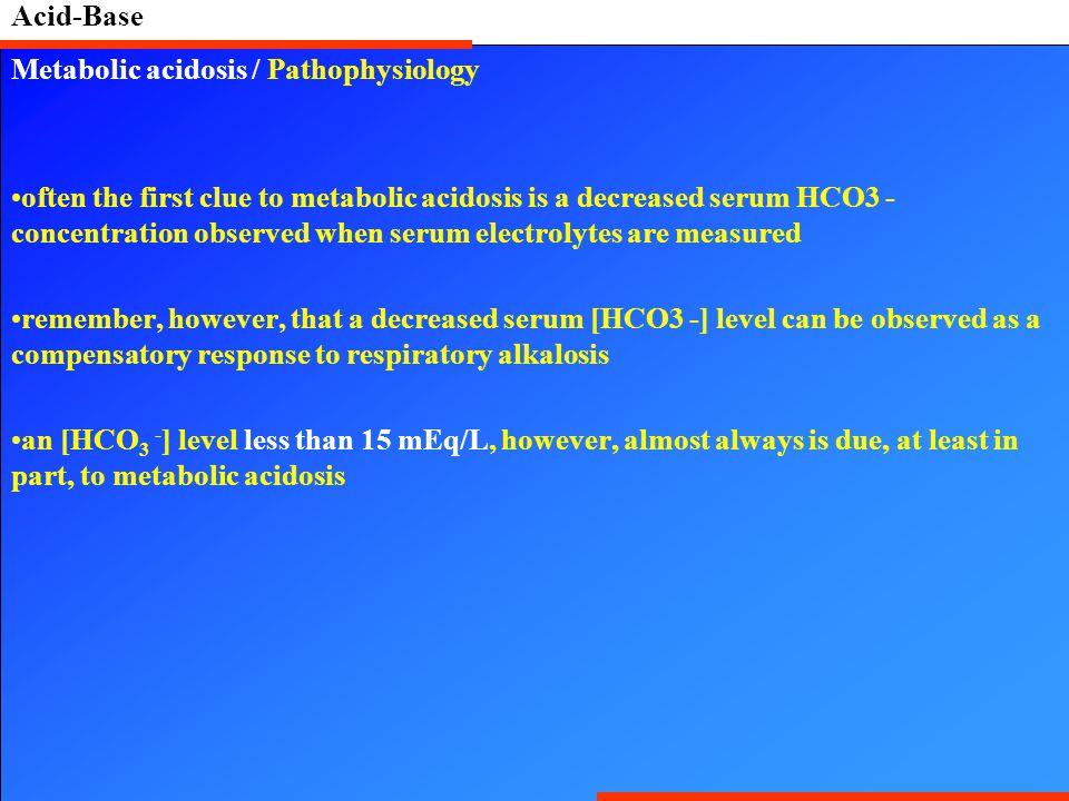 Acid-Base Metabolic acidosis / Pathophysiology.