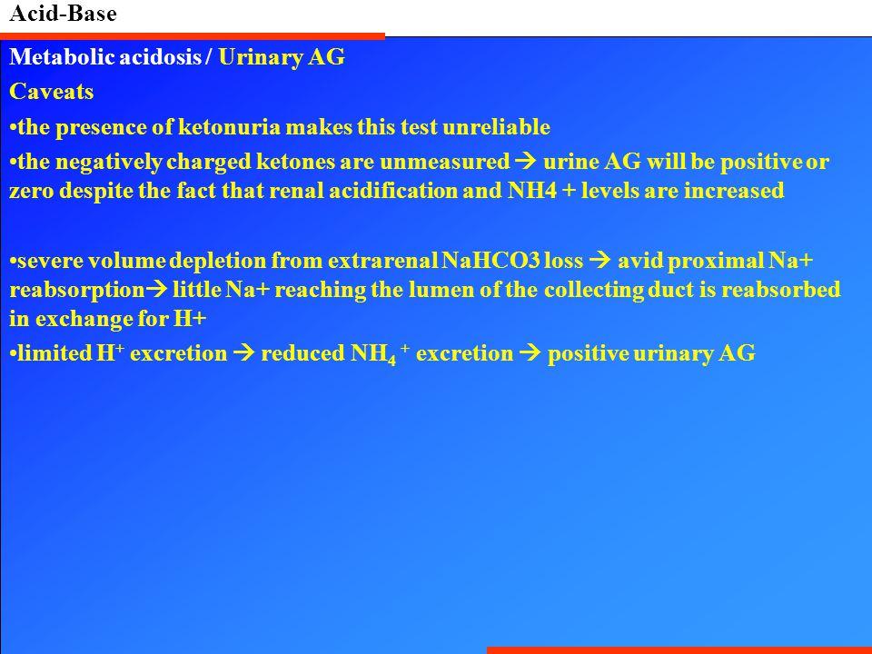 Acid-Base Metabolic acidosis / Urinary AG. Caveats. the presence of ketonuria makes this test unreliable.