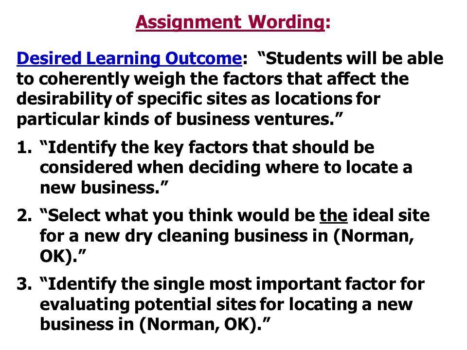 Assignment Wording: