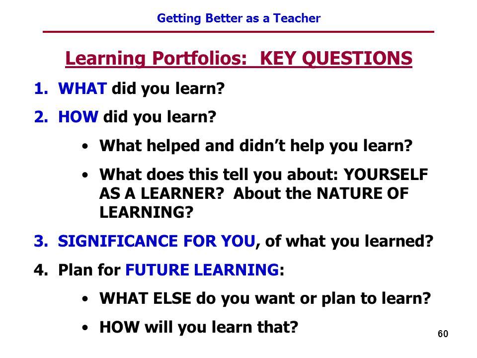 Learning Portfolios: KEY QUESTIONS