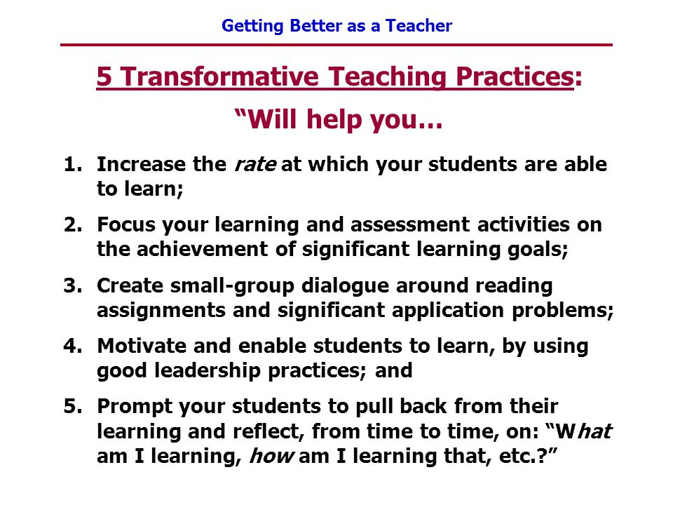 5 Transformative Teaching Practices: