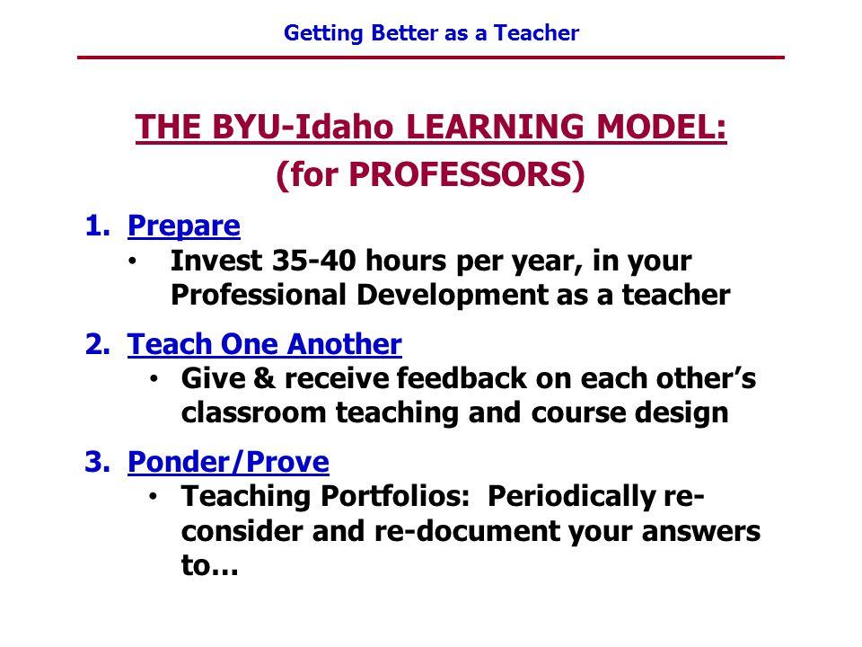 THE BYU-Idaho LEARNING MODEL: