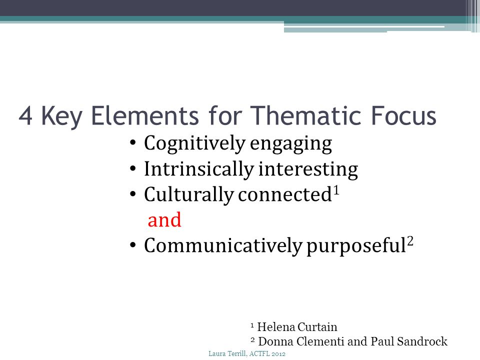 4 Key Elements for Thematic Focus