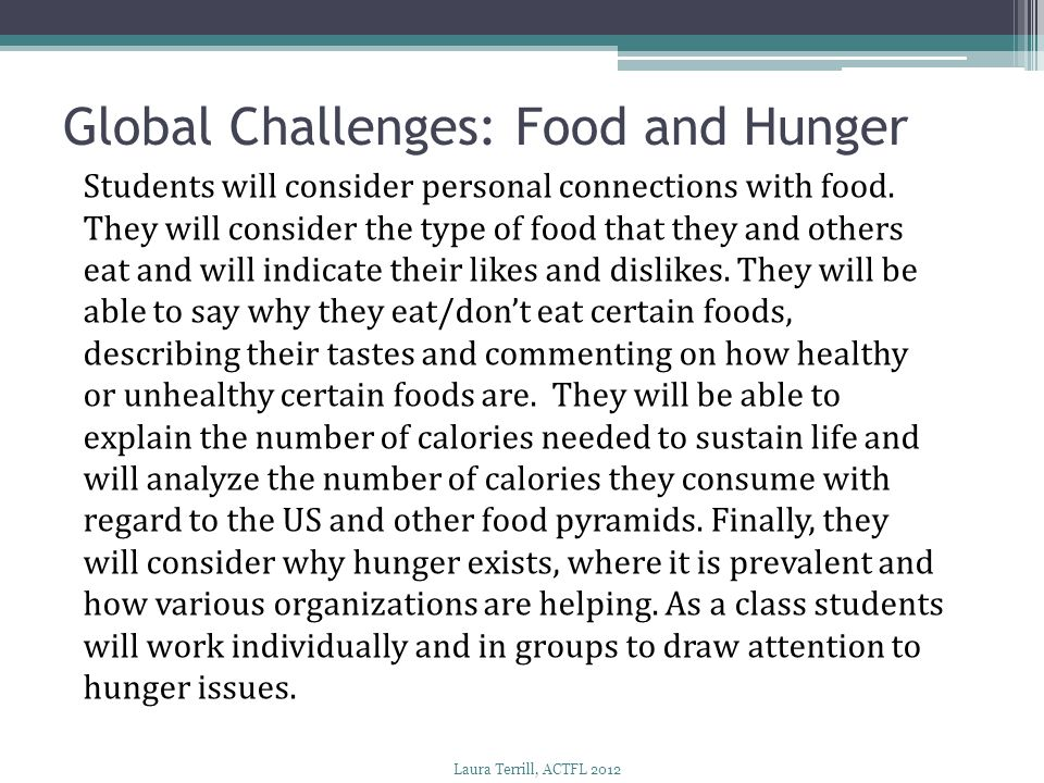 Global Challenges: Food and Hunger