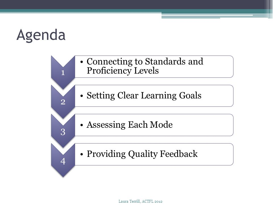 Agenda Connecting to Standards and Proficiency Levels 2