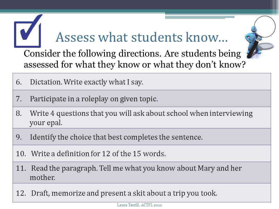Assess what students know…