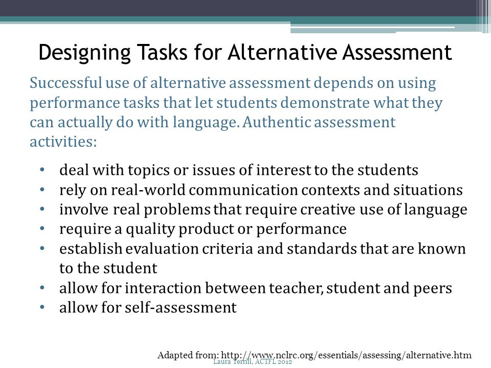 Designing Tasks for Alternative Assessment