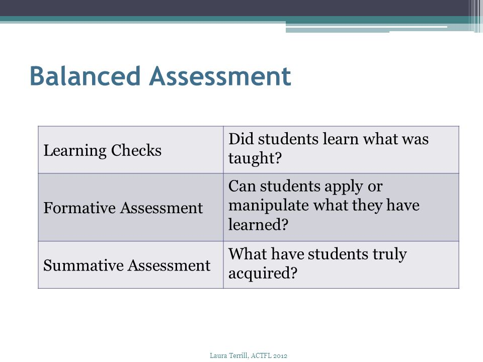 Balanced Assessment Learning Checks