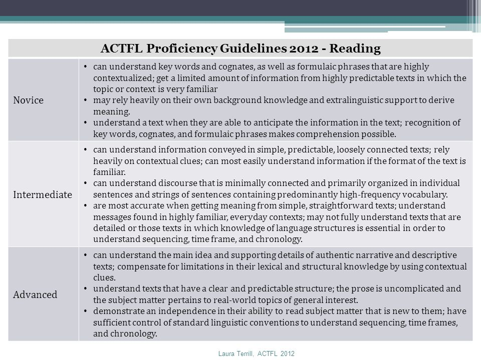 ACTFL Proficiency Guidelines 2012 - Reading