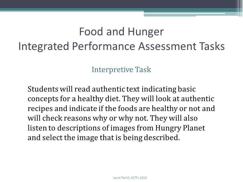 Food and Hunger Integrated Performance Assessment Tasks