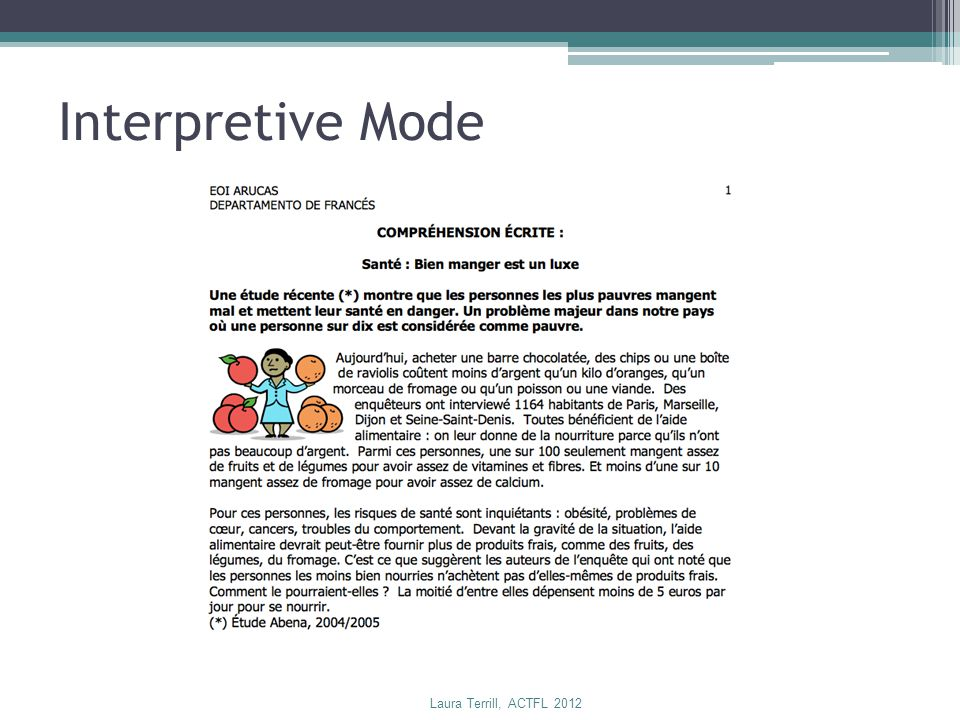 Interpretive Mode Laura Terrill, ACTFL 2012