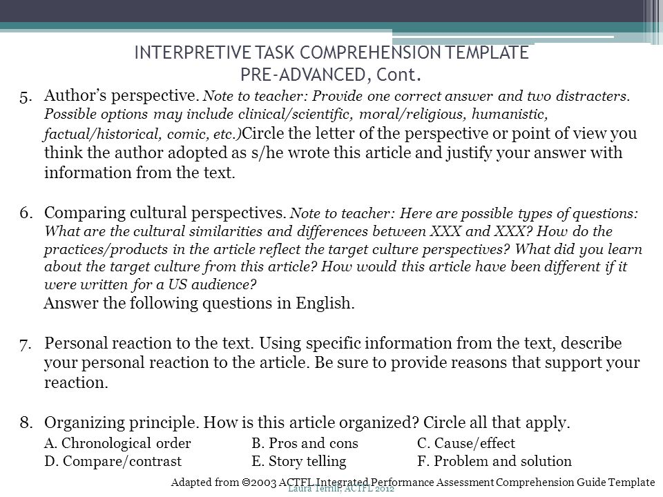 INTERPRETIVE TASK COMPREHENSION TEMPLATE PRE-ADVANCED, Cont.