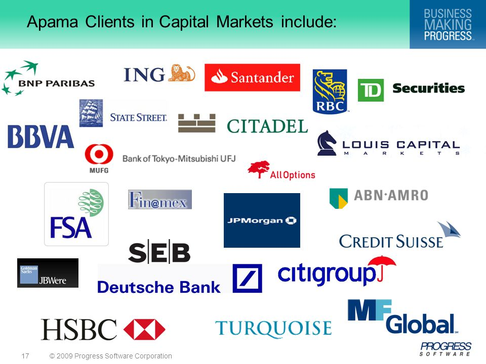 Apama Clients in Capital Markets include: