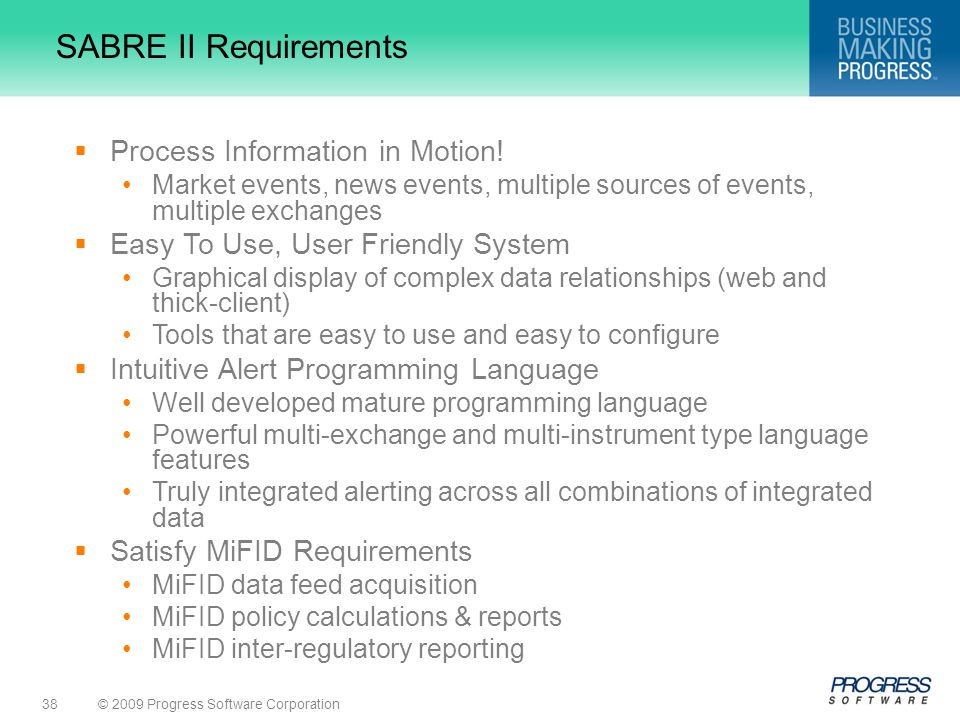 SABRE II Requirements Process Information in Motion!