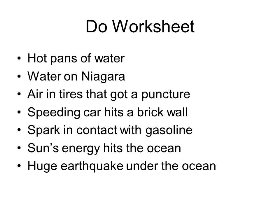 Do Worksheet Hot pans of water Water on Niagara