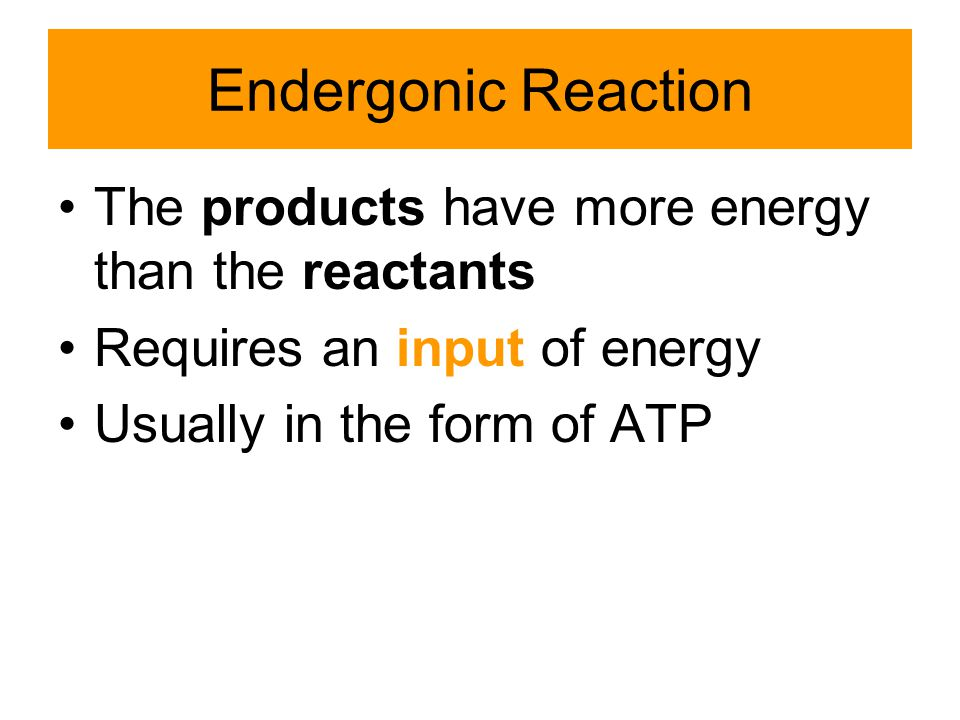 Endergonic Reaction The products have more energy than the reactants