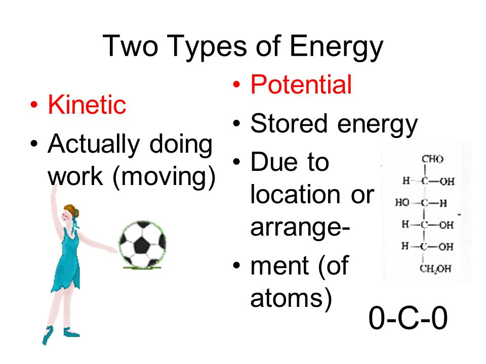 0-C-0 Two Types of Energy Potential Stored energy Kinetic
