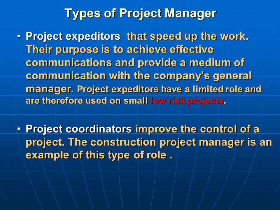 Types of Project Manager