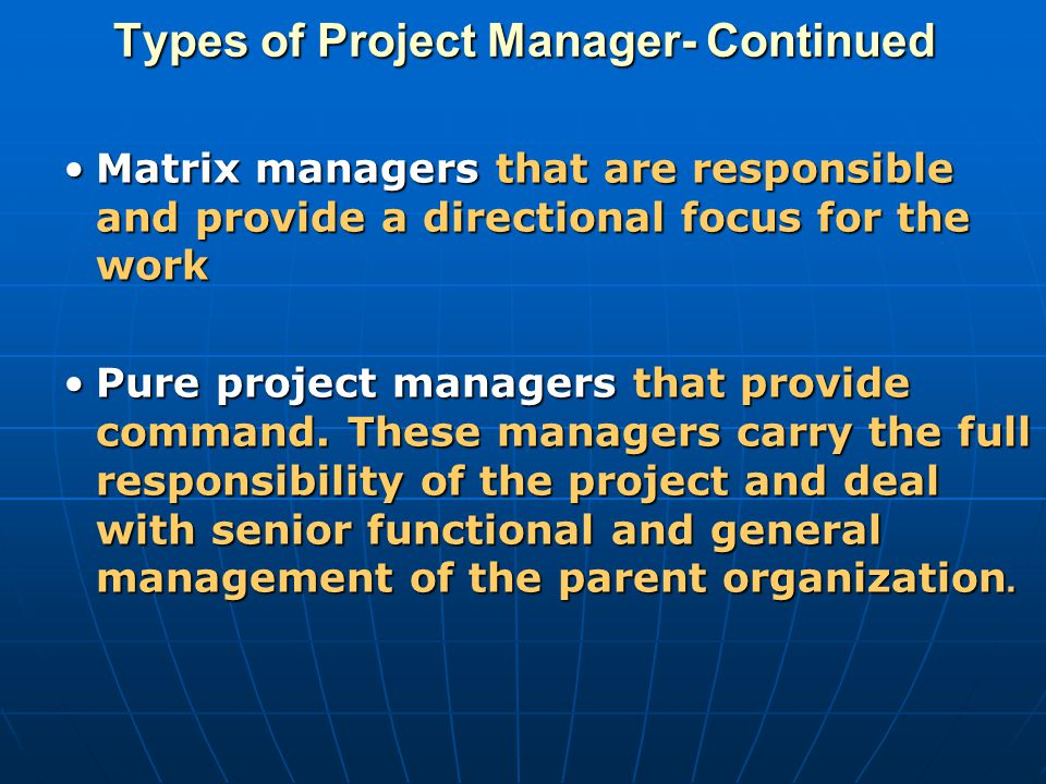 Types of Project Manager- Continued