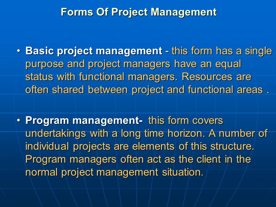 Forms Of Project Management