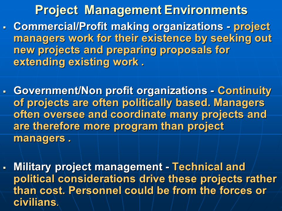 Project Management Environments